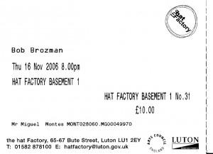 Entrada del concierto de Bob Brozman en Luton